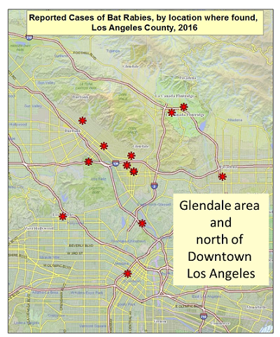 LA County Department of Public Health Veterinary Rabies Map 2016